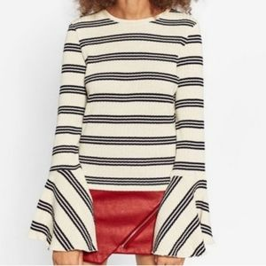 Zara Striped Bell Sleeve Top Size Small